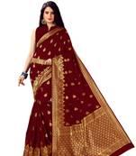 Buy Maroon woven banarasi silk saree with blouse