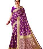Buy Wine woven banarasi silk saree with blouse
