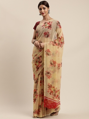 Beige woven chiffon saree with blouse