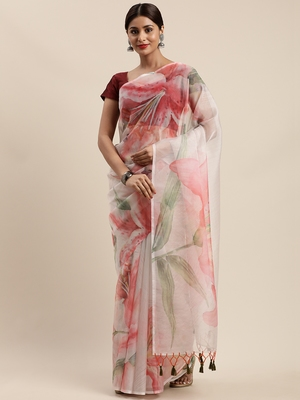 Light pink woven organza saree with blouse