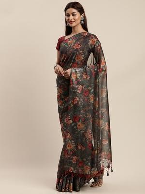 Grey woven organza saree with blouse