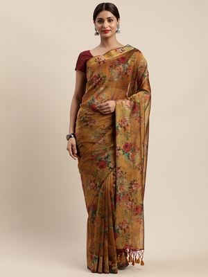 Mustard woven organza saree with blouse