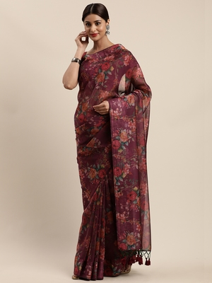 Purple woven organza saree with blouse