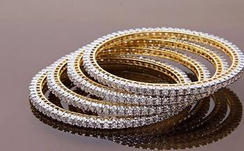 American Diamond Single Line Real Look Bangles