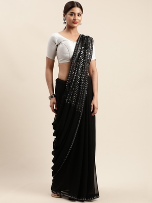 Black woven faux georgette saree with blouse