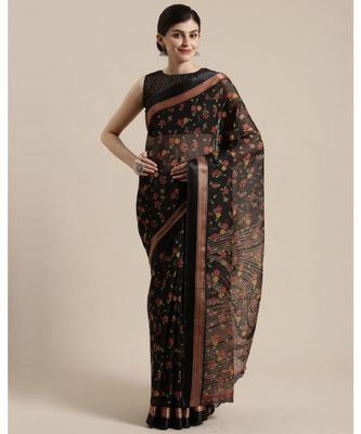 Black & Red Floral Printed Cotton Silk Saree With Blouse