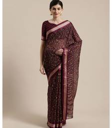 Marron  Floral Printed Cotton Silk Saree With Blouse