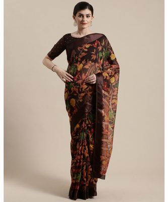Brown Floral Printed Cotton Silk Saree With Blouse