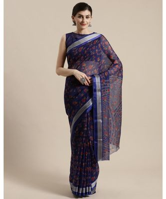 Blue Floral Printed Cotton Silk Saree With Blouse