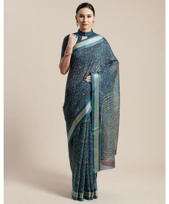 Teal Floral Printed Cotton Silk Saree  With Blouse