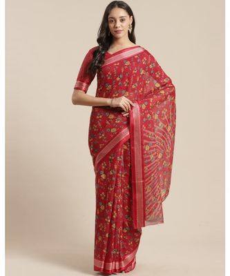Red Floral Printed Cotton Silk Saree With Blouse