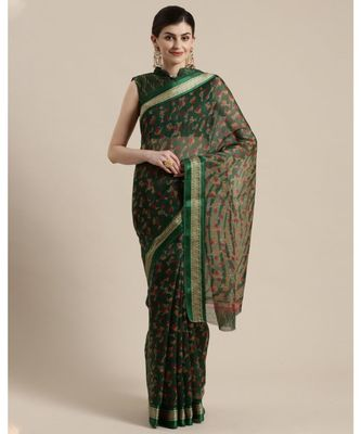 Green Floral Printed Cotton Silk Saree With Blouse