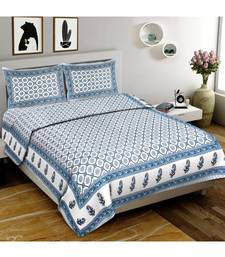 White Printed Cotton Double Bedsheets With Pillow Cover