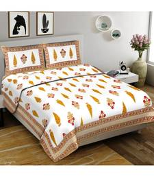 Yellow Printed Cotton Double Bedsheets With Pillow Cover