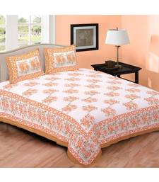 Orange Printed Cotton Double Bedsheets With Pillow Cover