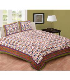 Green Printed Cotton Double Bedsheets With Pillow Cover
