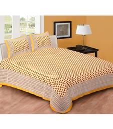 Brown Printed Cotton Double Bedsheets With Pillow Cover