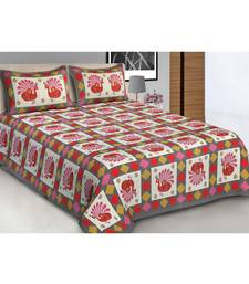 Grey Printed Cotton Double Bedsheets With Pillow Cover