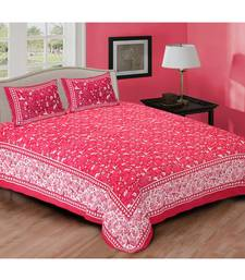 Pink Printed Cotton Double Bedsheets With Pillow Cover