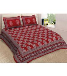 Red Printed Cotton Double Bedsheets With Pillow Cover