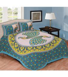 Blue Printed Cotton Double Bedsheets With Pillow Cover