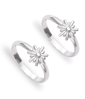 Floral Silver Toe Ring-TR466