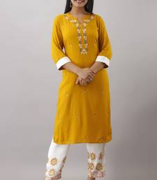 Women New Latest Rayon embroidered kurta Yellow and block printed pant (Pack Of 1)