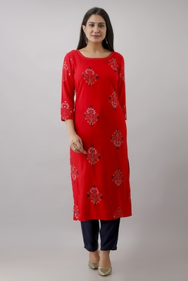 Women Rayon printed kurta with front all over embroidered and hand work with plain Palazzo Pant