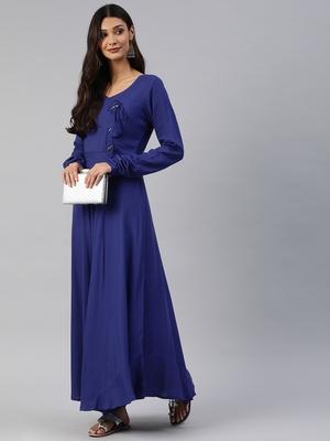 Blue plain viscose rayon maxi-dresses