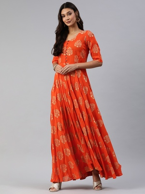 Orange printed viscose rayon maxi-dresses