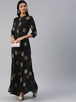 Black printed viscose rayon maxi-dresses