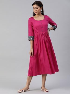Pink printed viscose rayon long-dresses