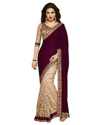 Buy Maroon Embroidered velvet saree with blouse half-saree online