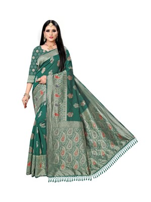Light green printed silk saree with blouse