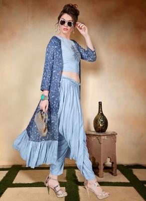Blue embroidered art silk long-kurtis