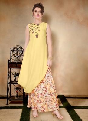 Yellow embroidered art silk long-kurtis