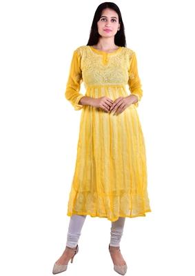 Lavangi Women's Faux Georgette Lucknow Chikankari Handicrafted Anarkali Kurti (Yellow)