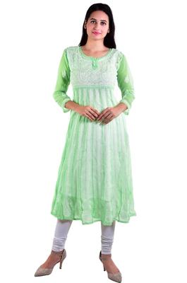 Lavangi Women's Faux Georgette Lucknow Chikankari Handicrafted Anarkali Kurti (Pista Green)