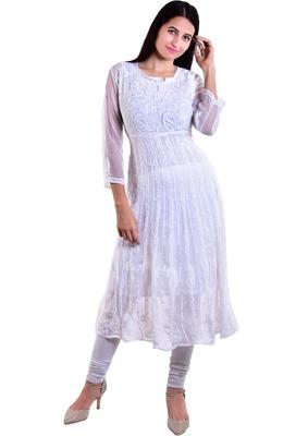 Lavangi Women's Faux Georgette Lucknow Chikankari Handicrafted Anarkali Kurti (White)