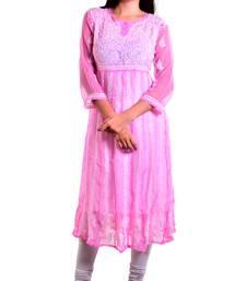 Lavangi Women's Faux Georgette Lucknow Chikankari Handicrafted Anarkali Kurti (Onion Pink)