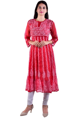 Lavangi Women's Faux Georgette Lucknow Chikankari Handicrafted Anarkali Kurti (Red)
