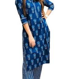 Your Style Jaipur Women's Cotton Indigo Kurti, 3/4 Sleeve, Calf Length, Casual Wear,Readymade Salwar Suit