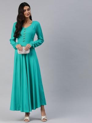 Sea-green plain viscose rayon maxi-dresses