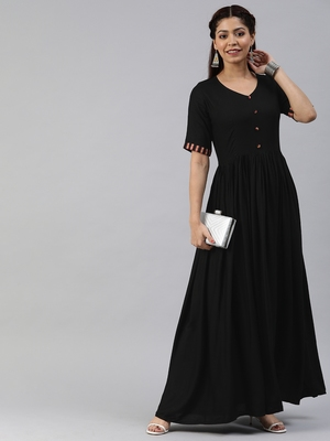 Black printed viscose rayon maxi-dresses