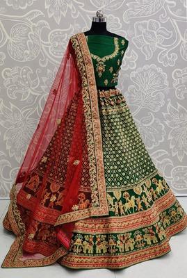 Green embroidered satin semi stitched lehenga