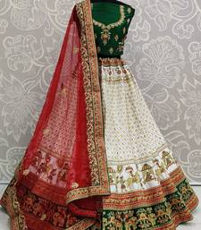 White embroidered satin semi stitched lehenga
