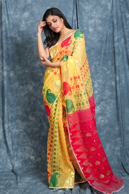 Yellow woven blended cotton saree