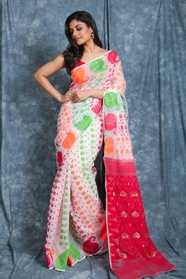 White woven blended cotton saree