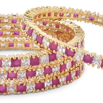GOLD PLATED RUBY & WHITE AMERICAN DIAMOND SET OF 4 BANGLES FOR WOMEN