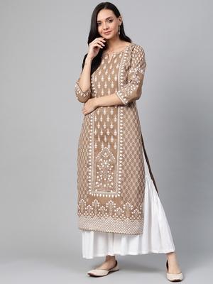 Brown woven cotton ethnic-kurtis